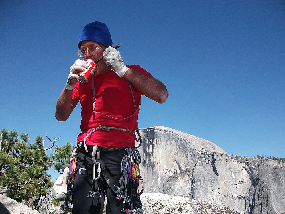 Climbing Astroman, a rock climb on Washington Column in Yosemite Valley, California